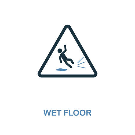 Wet Floor icon. Monochrome style design from shopping center sign icon collection. UI. Pixel perfect simple pictogram wet floor icon. Web design, apps, software, print usage. Banque d'images - 118006824