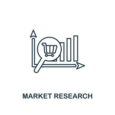 Market Research icon thin line style. Symbol from online marketing icons collection. Outline market research icon for web design, apps, software, printing usage.