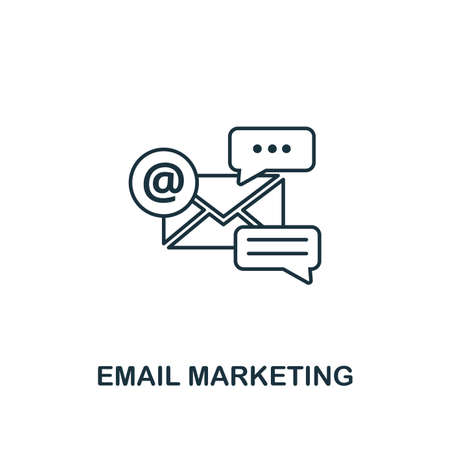 Email Marketing icon thin line style. Symbol from online marketing icons collection. Outline email marketing icon for web design, apps, software, printing usage.