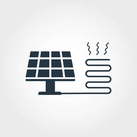Solar Heating creative icon. Monochrome style design from urbanism icons collection. Solar Heating icon for web design, apps, software, print usage Archivio Fotografico - 119100902