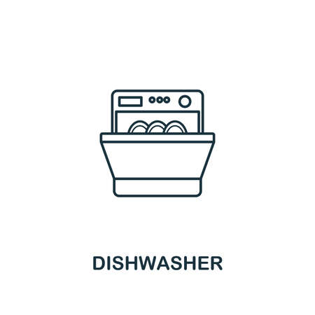 Dishwasher icon. Thin style design from household icons collection. Creativedishwasher icon for web design, apps, software, print usage