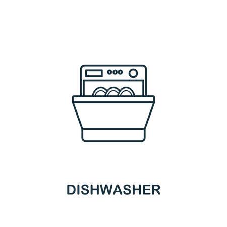Vaatwasser pictogram. Dun stijlontwerp uit de collectie van huishoudelijke iconen. Creativevaatwasser icoon voor webdesign, apps, software, printgebruik