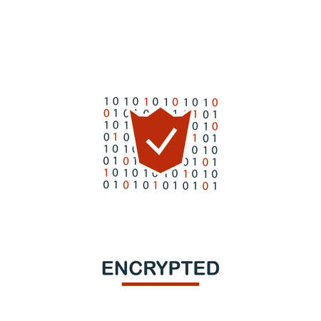 Encrypted icon. Creative two colors design from crypto currency icons collection. Simple pictogram encrypted icon for web design, apps, software, print usage. Foto de archivo - 124379523