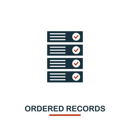 Ordered Records icon. Creative two colors design from crypto currency icons collection. Simple pictogram ordered records icon for web design, apps, software, print usage.