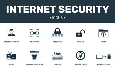 Internet security set icons collection. Includes simple elements such as Password, Firewall, Error, Unlock and Browser protection premium icons Stockfoto