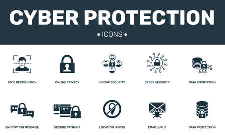 Cyber protection set icons collection. Includes simple elements such as Online privacy, Cyber security, Face recognition and Data premium icons 스톡 콘텐츠