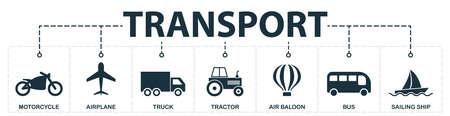 Transport set icons collection. Includes simple elements such as Motorcycle, Airplane, Truck, Tractor, Air Ballon, Bus and Sailing Ship premium icons for UX and UI.