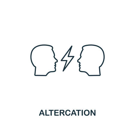 Altercation icon. Thin line design symbol from business ethics icons collection. Pixel perfect altercation icon for web design, apps, software, print usage.