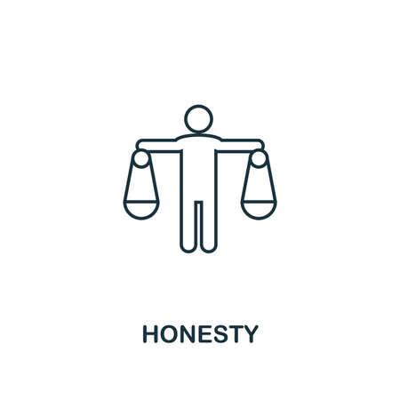 Icono de honestidad. Símbolo de diseño de línea delgada de la colección de iconos de ética empresarial. Pixel perfect honesty icon para diseño web, aplicaciones, software, uso de impresión. Ilustración de vector