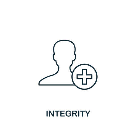 Integrity icon. Thin line design symbol from business ethics icons collection. Pixel perfect integrity icon for web design, apps, software, print usage.  イラスト・ベクター素材