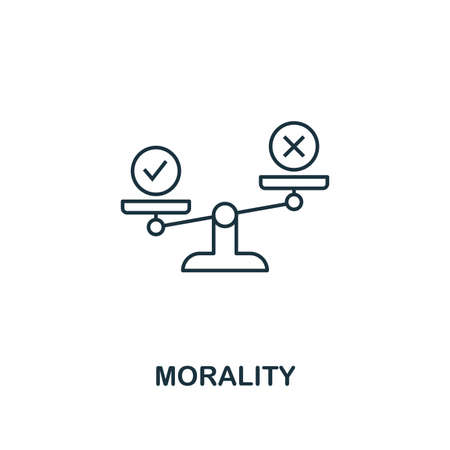 Morality icon. Thin line design symbol from business ethics icons collection. Pixel perfect morality icon for web design, apps, software, print usage.