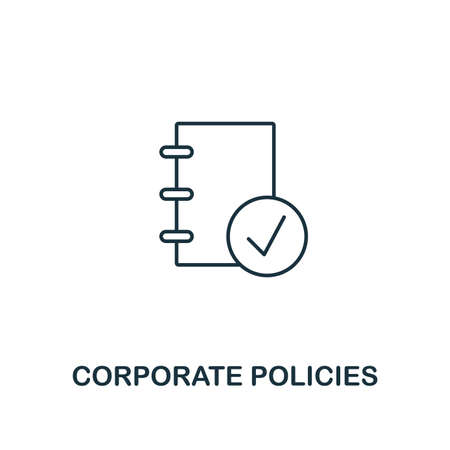 Corporate Policies icon. Thin line design symbol from business ethics icons collection. Pixel perfect corporate policies icon for web design, apps, software, print usage. Ilustração Vetorial