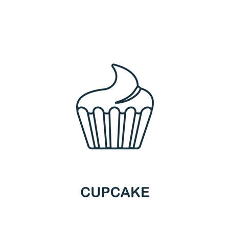 Cupcake icon. Thin line symbol design from coffe shop icon collection. UI and UX. Creative simple cupcake icon for web and mobile. Vectores