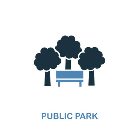 Public Park icon in two colors. Creative design from city elements icons collection. Colored public park icon for web and mobile design.  イラスト・ベクター素材