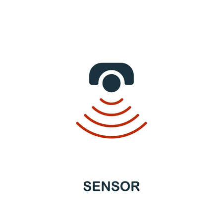 Sensor icon in two color design. Red and black style elements from machine learning icons collection.  Creative sensor icon. For web design, apps, software, print usage. Ilustração