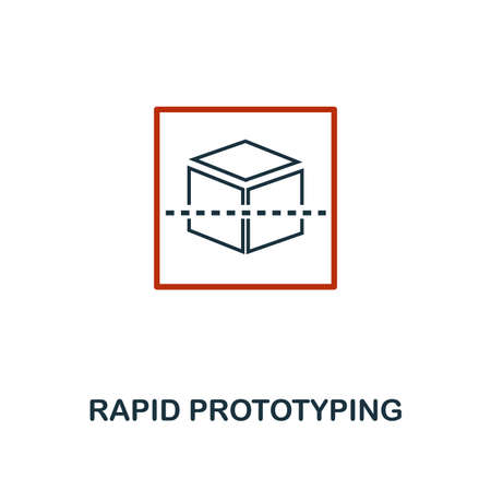 Rapid Prototyping icon in two color design. Red and black style elements from machine learning icons collection.  Creative rapid prototyping icon. For web design, apps, software, print usage.