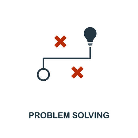 Problem Solving icon in two color design. Red and black style elements from machine learning icons collection. Creative problem solving icon. For web design, apps, software, print usage. Vektorové ilustrace