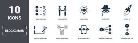 Blockchain set icons collection. Includes simple elements such as Confirmation, Transaction, Innovation, Anonymity, Start Up, Multi-Signature and Blockchain App premium icons. Foto de archivo - 123665621