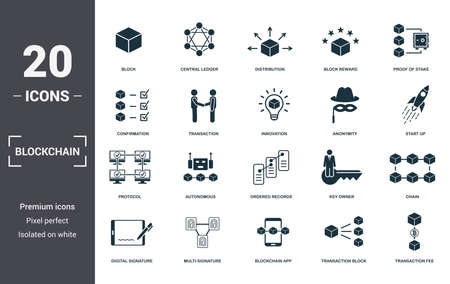 Blockchain set icons collection. Includes simple elements such as Block, Central Ledger, Distribution, Block Reward, Proof Of Stake, Autonomous and Ordered Records premium icons. Foto de archivo - 123665625