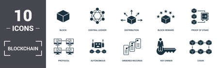 Blockchain set icons collection. Includes simple elements such as Block, Central Ledger, Distribution, Block Reward, Proof Of Stake, Autonomous and Ordered Records premium icons.