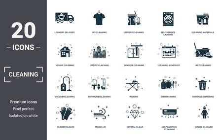 Reinigungsset Icons Sammlung. Enthält einfache Elemente wie Wäscheservice, chemische Reinigung, Express, Selbstbedienungswäscherei, Reinigungsmaterialien, Badezimmerreinigung und Bügeln von Premium-Symbolen.