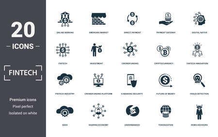 Fintech set icons collection. Includes simple elements such as Online Banking, Emerging Market, Direct Payment, Payment Gateway, Digital Native, Crowdfunding Platform and E-Banking premium icons.
