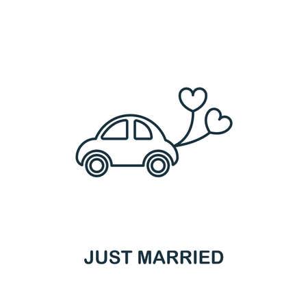 Icône de contour Just Married. Conception de style premium de la collection d'icônes de lune de miel. Élément simple vient de se marier icône. Prêt à l'emploi dans la conception Web, les applications, les logiciels, l'impression Vecteurs