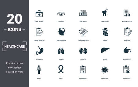 Healthcare icons set collection. Includes simple elements such as First Aid Kit, Eyesight , Lab Tests, Dentistry, Medical Tests, Lungs and Kidneys premium icons. Stock Illustratie