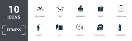 Fitness icons set collection. Includes simple elements such as Pool Swimming, Diet, Calories Burn, Scales, Training Plan, Mat and Endurance premium icons. Stockfoto
