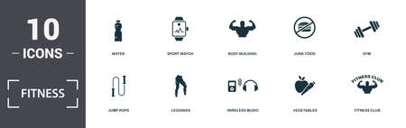 Fitness icons set collection. Includes simple elements such as Water, Sport Watch, Body Building, Junk Food, Gym, Leggings and Wireless Music premium icons.