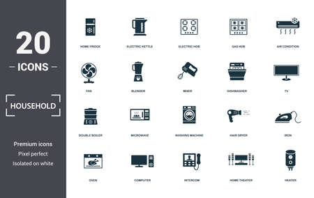 Household icons set collection. Includes simple elements such as Home Fridge, Electric Kettle, Electric Hob, Gas Hob, Air Condition, Microwave and Washing Machine premium icons. Stock Illustratie