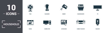 Household icons set collection. Includes simple elements such as Fan, Blender, Mixer, Dishwasher, Tv, Computer and Intercom premium icons.