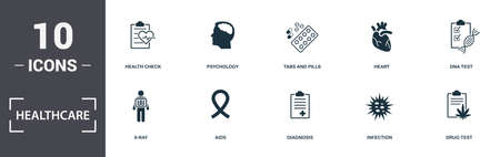 Healthcare icons set collection. Includes simple elements such as Health Check, Psychology, Tabs And Pills, Heart, Dna Test, Aids and Diagnosis premium icons.