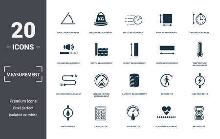 Measurement icons set collection. Includes simple elements such as Angle Measurement, Weight, Speed Measurement, Area Measurement, Time, Internet Speed Stock Illustratie