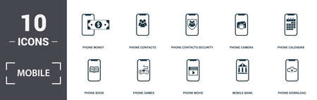Mobile App icons set collection. Includes simple elements such as Money, Phone Contacts, Contacts Security, Phone Camera, Phone Calendar, Games and Phone Movie premium icons.