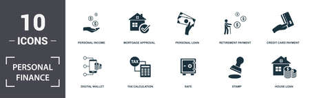 Personal Finance icons set collection. Includes simple elements such as Personal Income, Mortgage Approval, Personal Loan, Retirement Payment, Credit Card Payment, Tax Calculation and Safe.