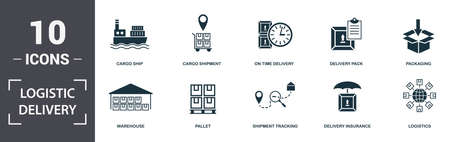 Logistics Delivery icons set collection. Includes simple elements such as Cargo Ship, Cargo Shipment, On Time Delivery, Delivery Pack, Packaging, Pallet and Shipment Tracking premium icons.