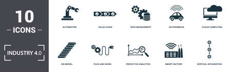 Industry 4.0 icons set collection. Includes simple elements such as Automation, Value Chain, Data Management, Autonomous, Cloud Computing, Plug And Work and Predictive Analytics premium icons.