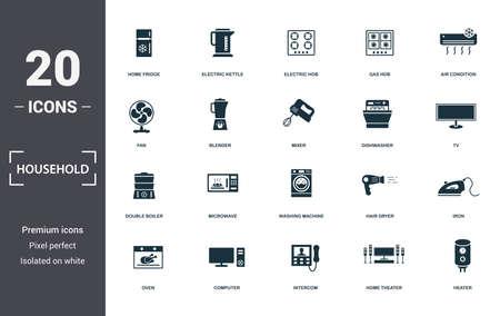 Collection de jeu d'icônes de ménage. Comprend des éléments simples tels que réfrigérateur domestique, bouilloire électrique, plaque de cuisson électrique, plaque de cuisson à gaz, climatisation, micro-ondes et machine à laver.