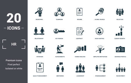 Human Resources icons set collection. Includes simple elements such as Searching, Teamwork, Resume, Global Search, Selection, Achievements and Human Analysis premium icons. Vetores