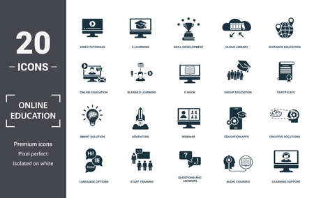Online Education icons set collection. Includes simple elements such as Video Tutorials, E-Learning, Skill Development, Cloud Library, Distance Education, Adventure and Webinar premium icons.