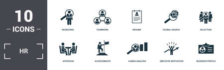 Human Resources icons set collection. Includes simple elements such as Searching, Teamwork, Resume, Global Search, Selection, Achievements and Human Analysis premium icons.