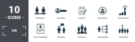 Human Resources icons set collection. Includes simple elements such as Relationship, Key Person, Contract, Head Hunting, Career Growth, Mentoring and Leadership premium icons. Stock Illustratie