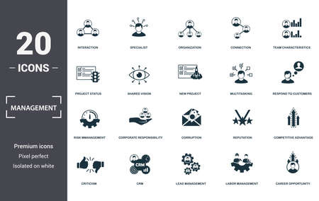 Management icons set collection. Includes simple elements such as Interaction, Specialist, Organization, Connection, Team Characteristics, Corporate Responsibility and Corruption premium icons.