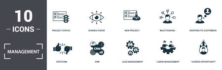 Management icons set collection. Includes simple elements such as Project Status, Shared Vision, New Project, Multitasking, Respond To Customers, Crm and Lead Management premium icons. Stock Illustratie