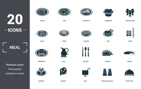 Meal icons set collection. Includes simple elements such as Steak, Fish, Spaghetti, Porridge, Boiled Eggs, Jug and Cutlery premium icons