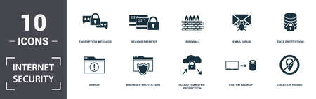 Internet Security icons set collection. Includes simple elements such as Encryption Message, Secure Payment, Firewall, Email Virus, Data Protection, Browser Protection and Cloud Transfer Protection