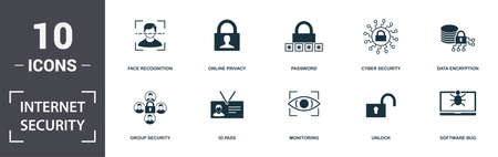 Internet Security icons set collection. Includes simple elements such as Face Recognition, Online Privacy, Password, Cyber Security, Data Encryption, Id Pass and Monitoring premium icons.