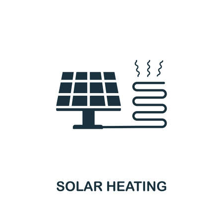 Solar Heating icon. Premium style design from urbanism collection. UX and UI. Pixel perfect solar heating icon for web design, apps, software, printing usage. Archivio Fotografico - 122501093
