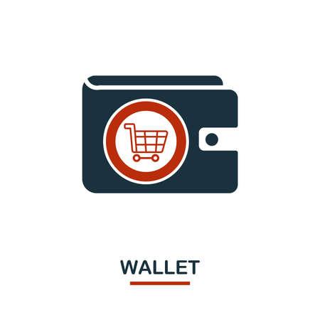 Icône de portefeuille en deux couleurs. Conception créative en noir et rouge de la collection d'icônes de commerce électronique. Icône de portefeuille simple et parfaite pour la conception Web, les applications, les logiciels, l'utilisation de l'impression. Vecteurs